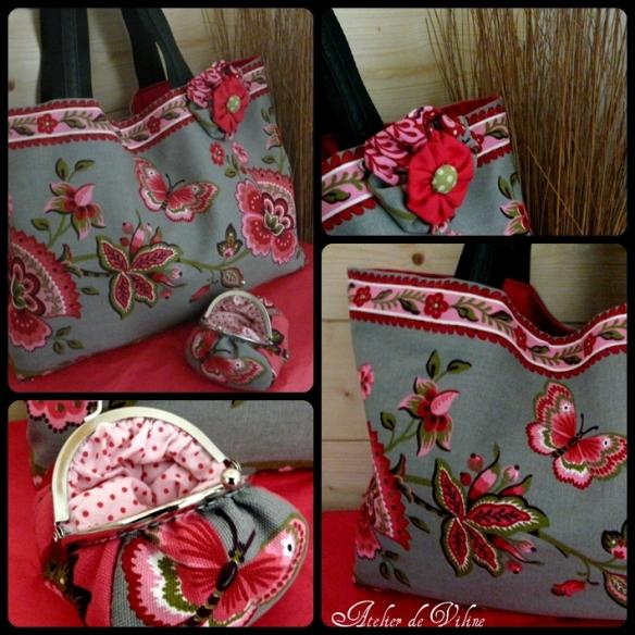 sac rose et porte-monnaie assorti