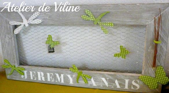 cadre grillage et libellules vert et blanc porte-photo