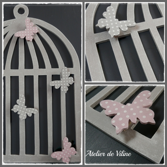 cage en bois avec des papillons