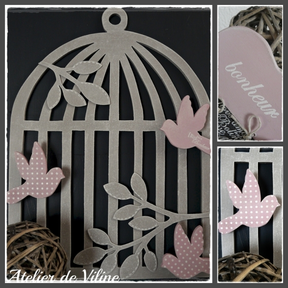 cage oiseaux rose et gris