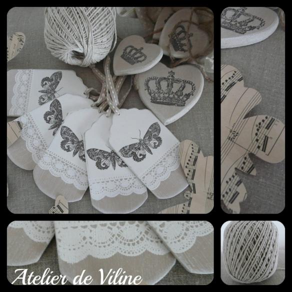 etiquettes bois papillons et dentelles blanches