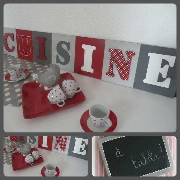 tableau cuisine rouge et gris