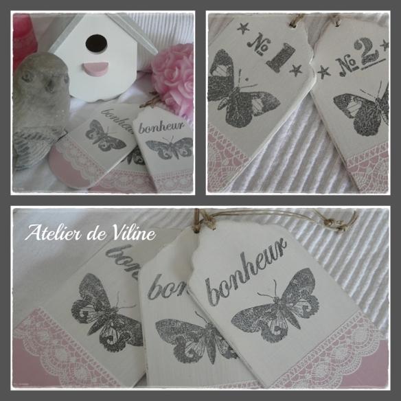 etiquettes bois roses et dentelles embossées d'un papillon