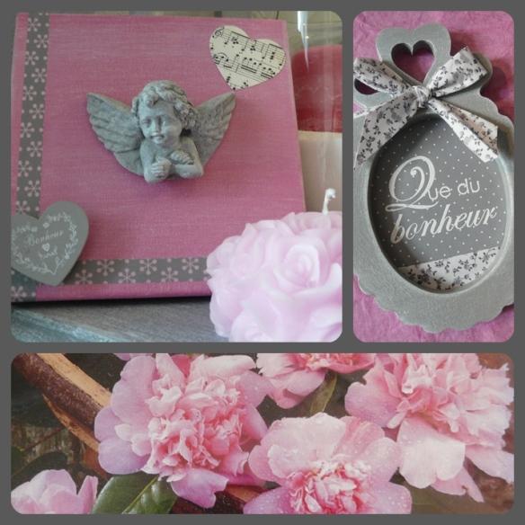 ange gris sur toile rose