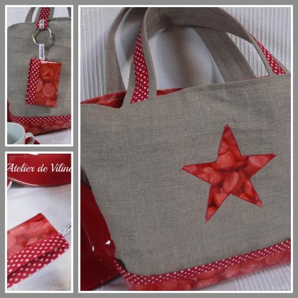 sac lin et pois rouge avec vinyl imprimé de fraises