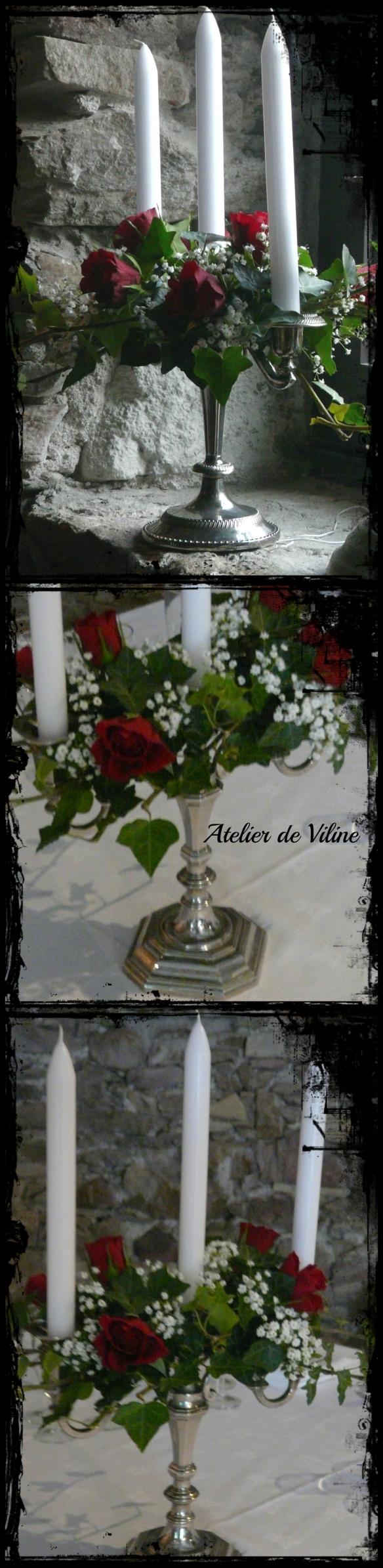 chandeliers en argent avec lierre et roses rouges